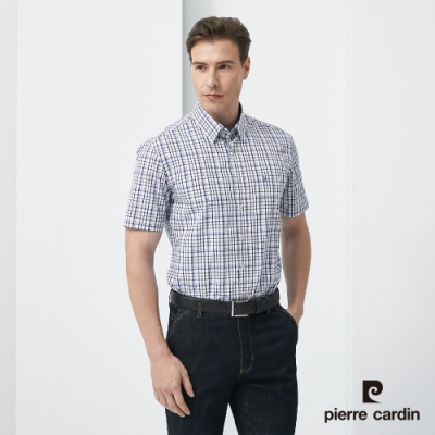 Pierre Cardin皮爾卡登 男裝 進口素材純棉格紋短袖休閒襯衫-藍色(5187166-39)