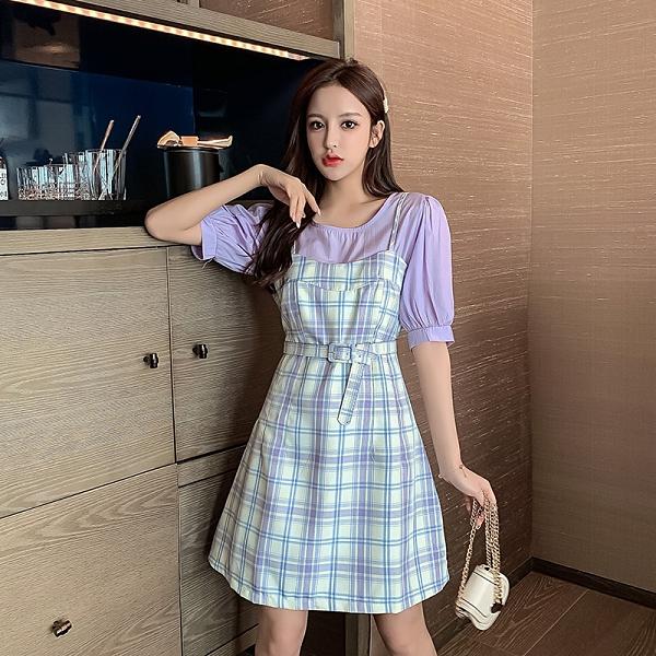 VK精品服飾 韓系腰帶圓領泡泡袖格紋細肩帶裙套裝短袖裙裝