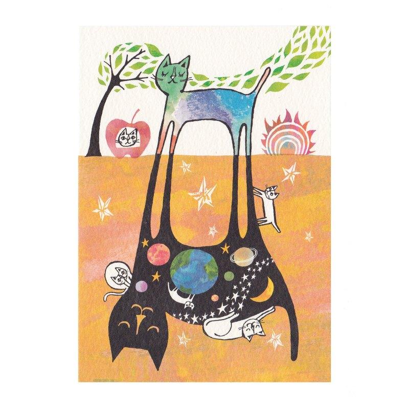 日本插畫家 岡部哲郎 貓咪明信片【我的宇宙】
