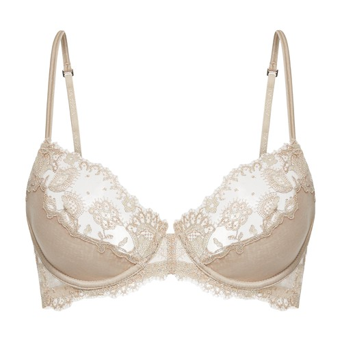Embroidered tulle underwired bra