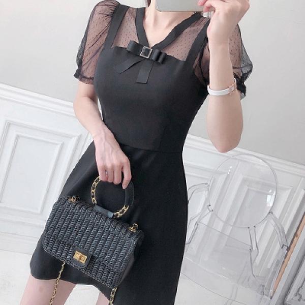 OL洋裝 禮服裙S-XL2113#夏新款韓版時尚優雅氣質顯瘦小黑裙a字裙打底連身裙H506紅粉佳人