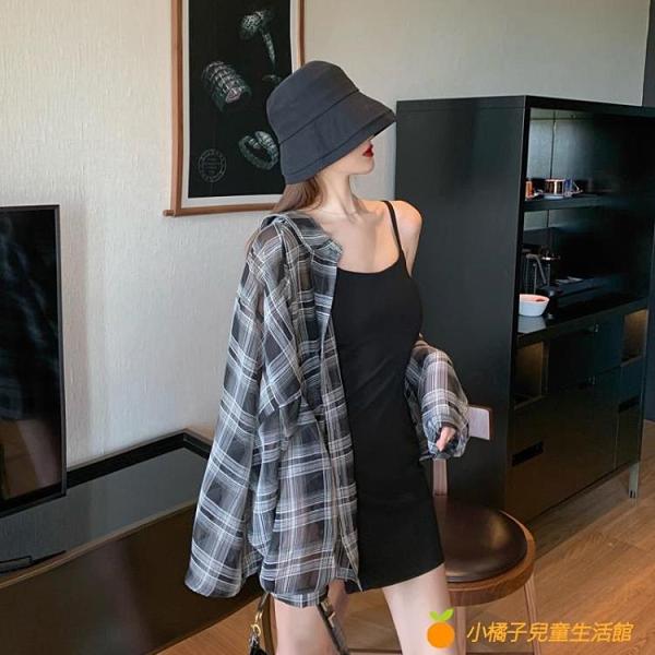 小個子春秋新款2021年黑色赫本風法式吊帶連衣裙子氣質短裙女裝夏【小橘子】