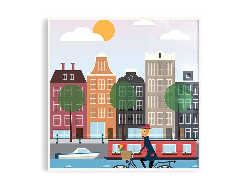 Poster • tw丨阿姆斯特丹/插畫/掛畫/海報/鋁框/A4/尺寸可客製