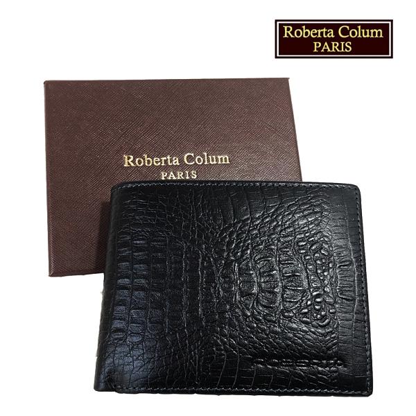 【Roberta Colum】諾貝達 鱷魚紋 男士專櫃皮夾/皮夾/短夾 (黑色-23553)【威奇包仔通】