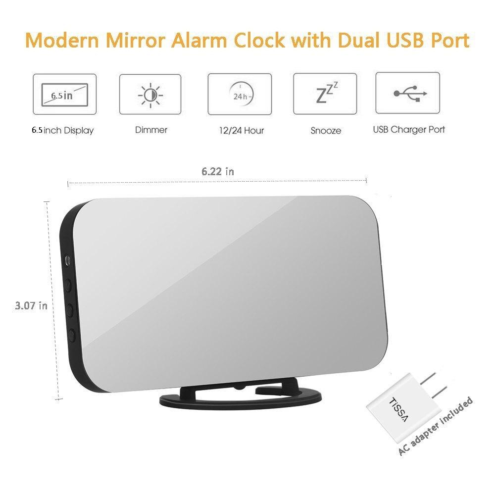 LED鬧鐘雙USB輸出手機充電貪睡鏡面鐘 數字創意鐘 感應調光電子鐘