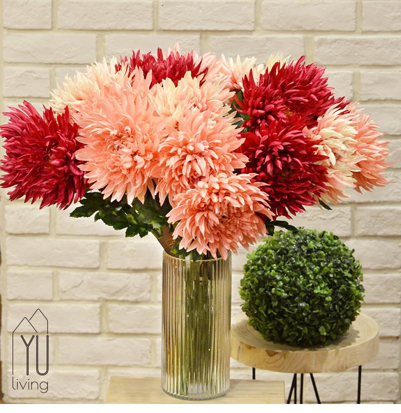 [母親節獻禮] 仿真菊花10支+花瓶組 人造菊花花瓶套組 仿真花yu living