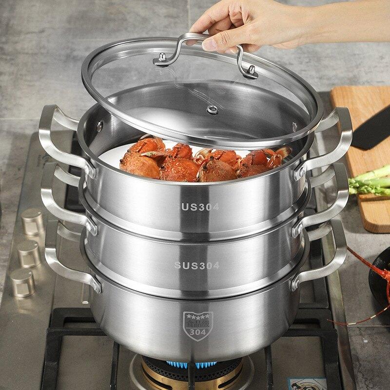304食品級不銹鋼火鍋  加厚雙層三層四層直角蒸鍋
