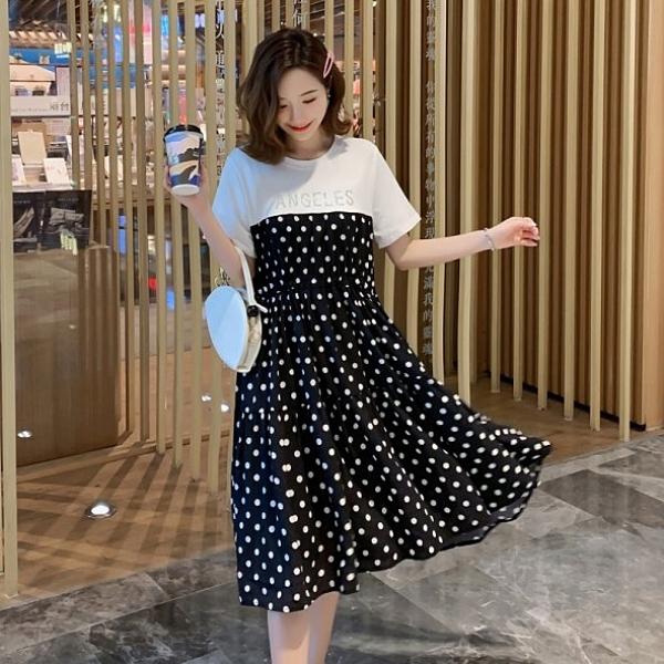 短袖洋裝連身裙收腰波點M-4XL中大尺碼波點純棉收腰透氣中長款連身裙4F022.2210韓依紡