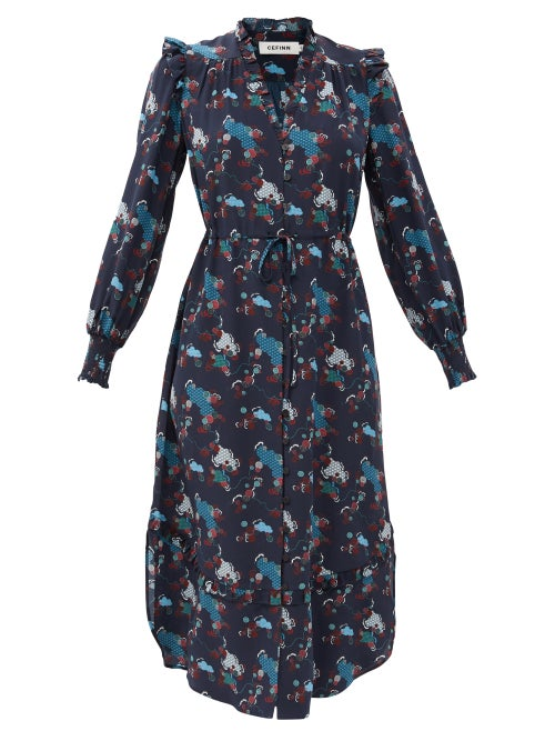 Cefinn - Stella Spiral Cloud-print Silk Midi Dress - Womens - Navy Multi