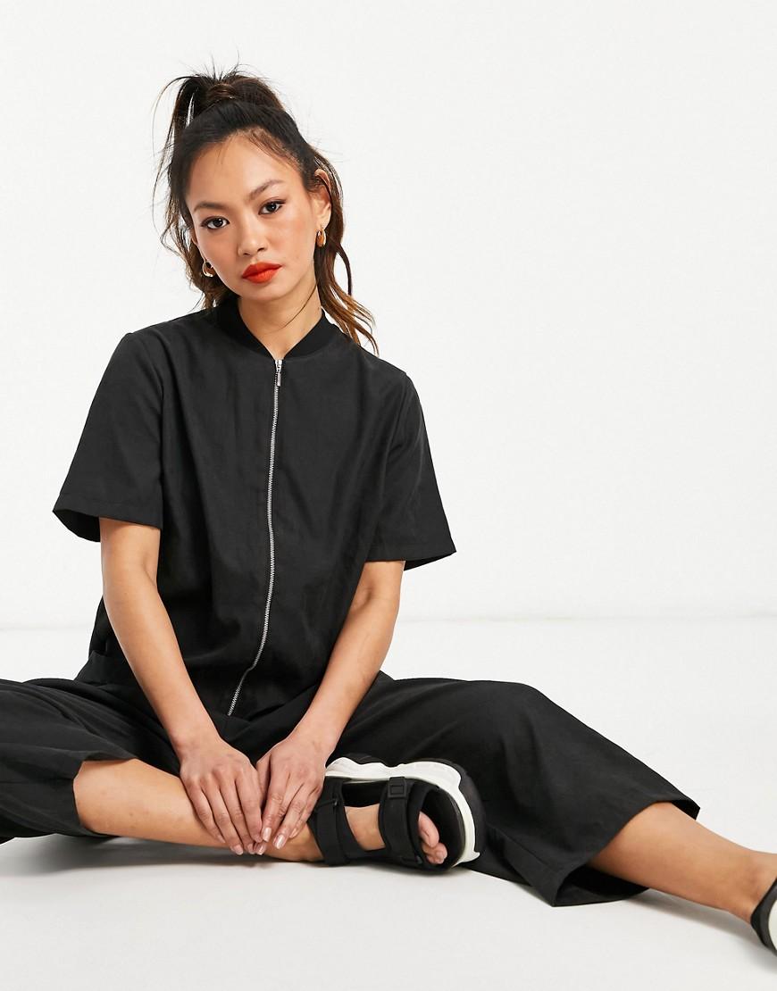 ASOS DESIGN zip front minimal jumpsuit in black