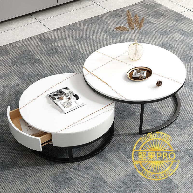 茶几 巖板大理石圓形茶幾組合簡約現代小戶型北歐網紅小茶幾桌客廳家用ZHJG71