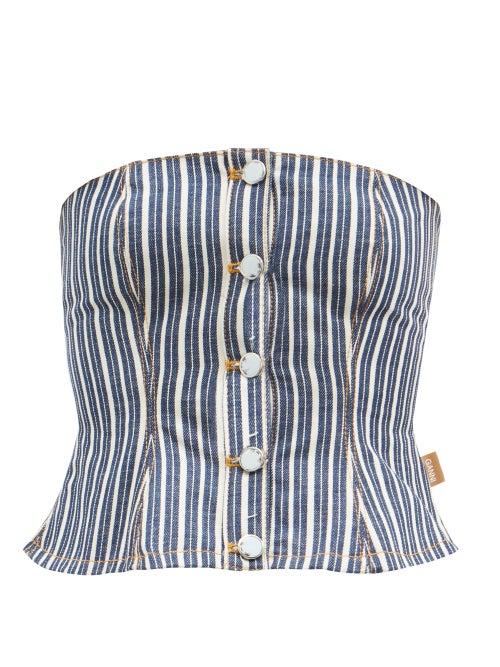 Ganni - Striped Denim Corset Top - Womens - Denim Multi