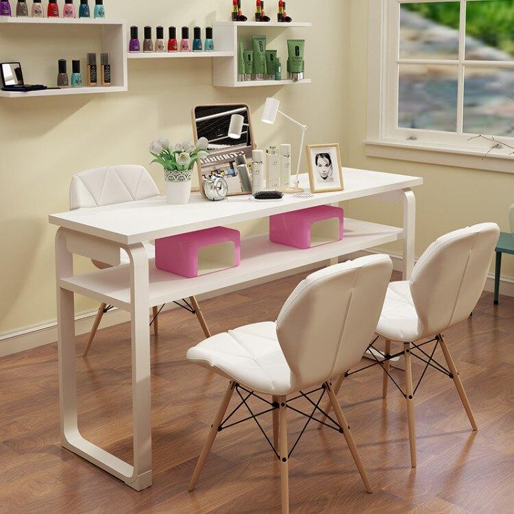 美甲桌 美甲桌單雙三人日式美甲台化妝指甲桌網紅美甲桌椅經濟型套裝AQ