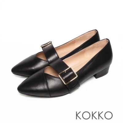 KOKKO經典尖頭柔軟感羊皮可調節飾帶粗跟鞋經典黑