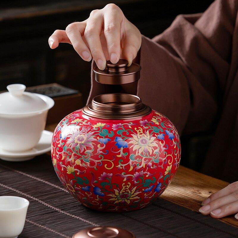 茶葉罐陶瓷密封罐儲存茶罐子大號一斤裝琺瑯彩通用禮盒裝紅茶綠茶