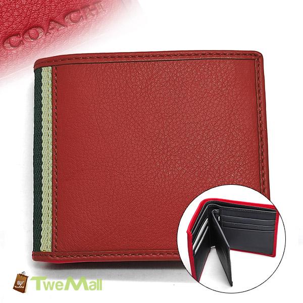 COACH暗紅皮革織布邊六卡中夾短夾(附卡片夾)