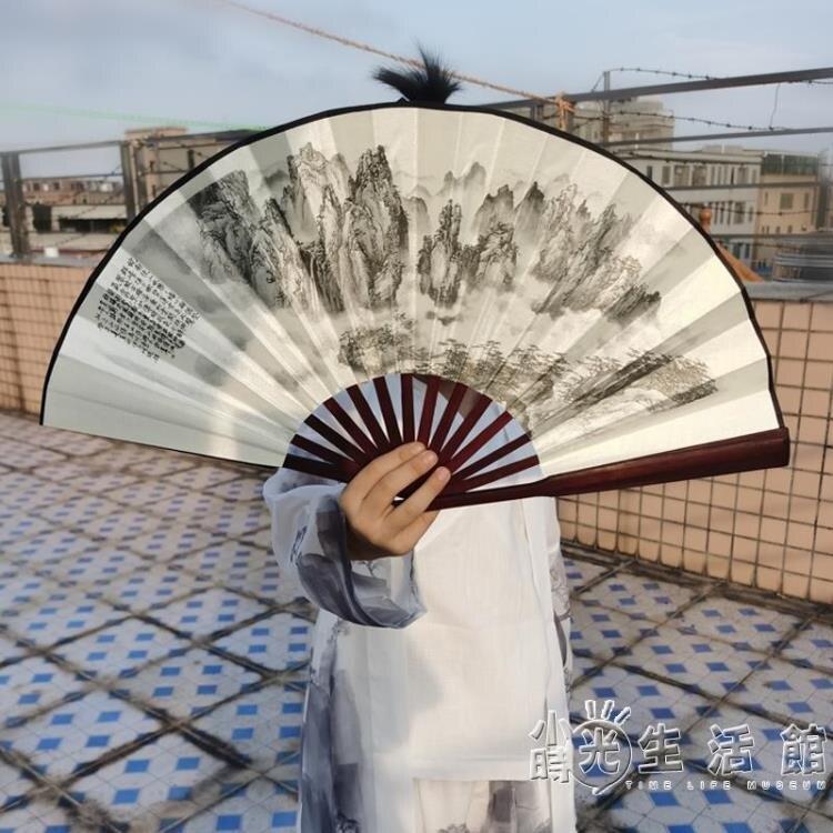 中國風漢服折扇耐用防水舞蹈扇兒童古裝折疊扇精品老竹扇骨絹布扇 特惠九折