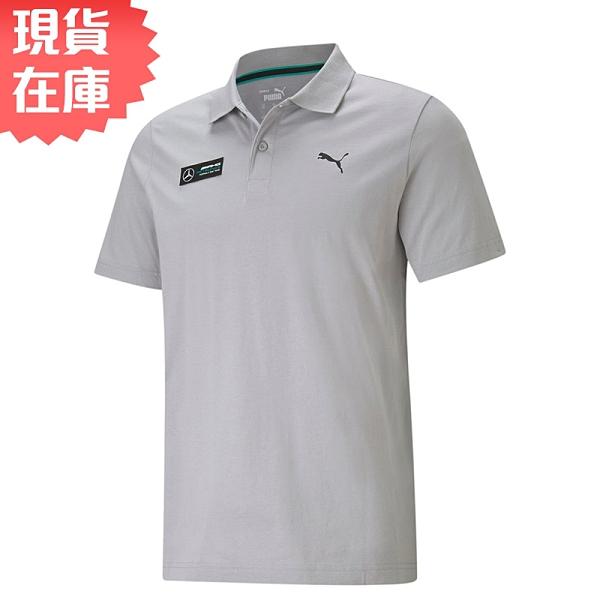 【現貨】PUMA Mercedes F1 Essentials 男裝 短袖 休閒 歐規 POLO 棉質 徽章 灰【運動世界】59962202