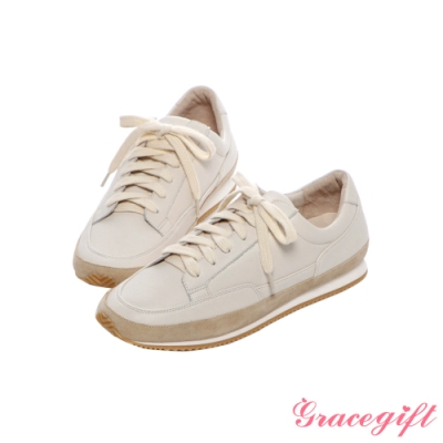 Grace gift X尖如-小日常真皮休閒鞋 米白
