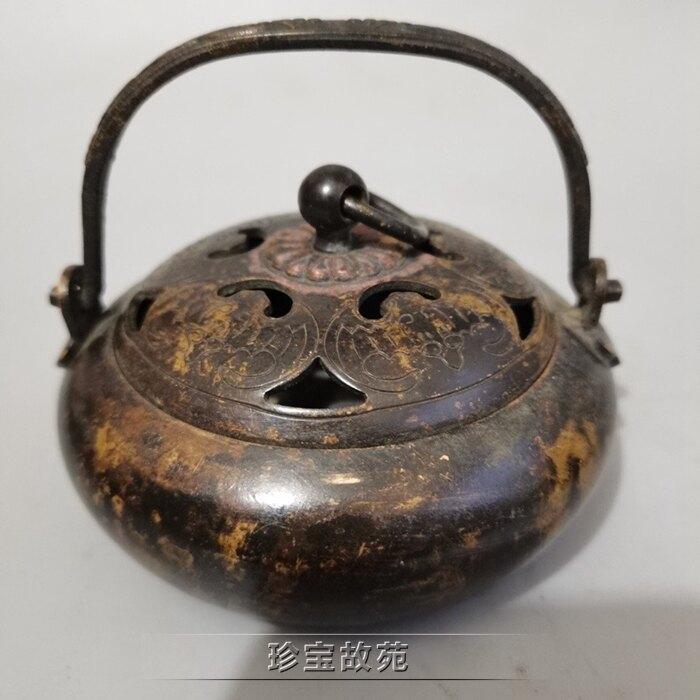 新品古玩銅器仿古工藝品博古架道具裝飾擺件包漿老銅爐暖手爐