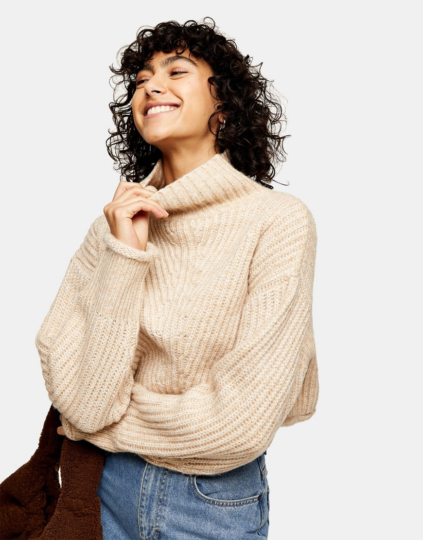 Topshop crop funnel neck knitted jumper in taupe-Neutral