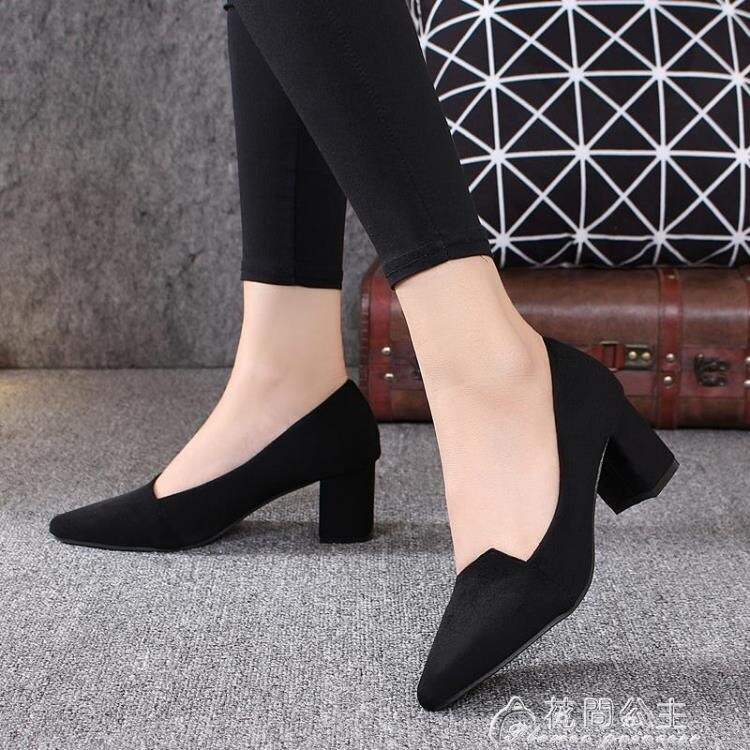 粗跟鞋紅晴綖真皮春秋季新款尖頭上班工作鞋高跟鞋女粗跟單鞋四季鞋