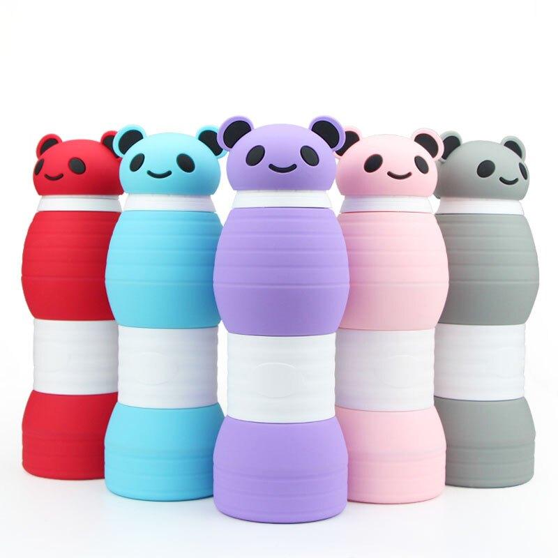 創意硅膠運動水壺卡通折疊杯學生水壺熊貓大容量水杯