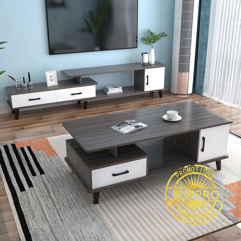 茶几 北歐圓角茶幾簡約現代茶幾桌客廳家用桌子小戶型輕奢電視柜組合ZHJG74