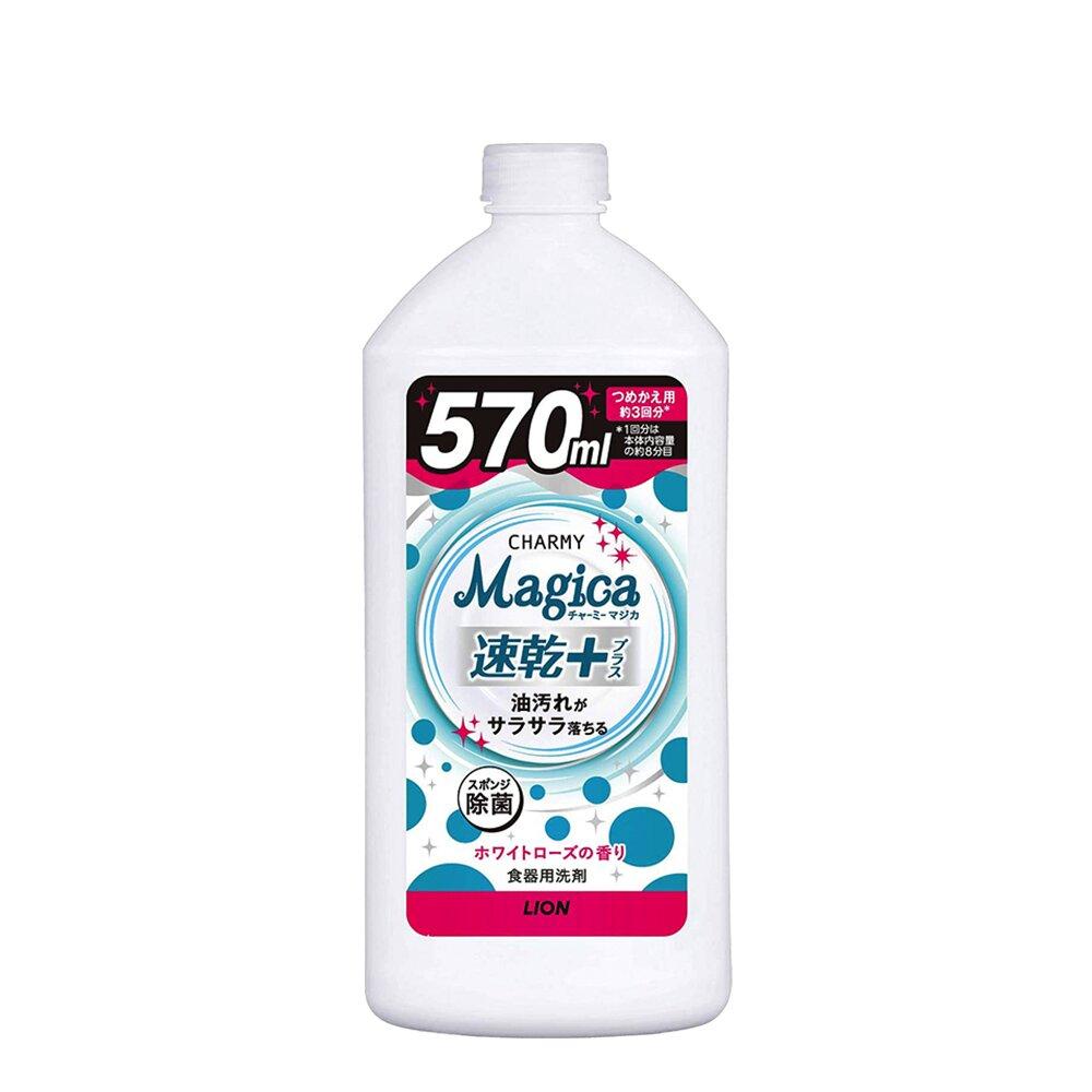 日本獅王Lion Magica 補充瓶洗碗精-速乾+白玫瑰香_中