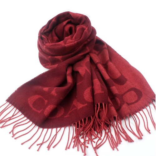 COACH 經典logo雙色流蘇圍巾-磚紅