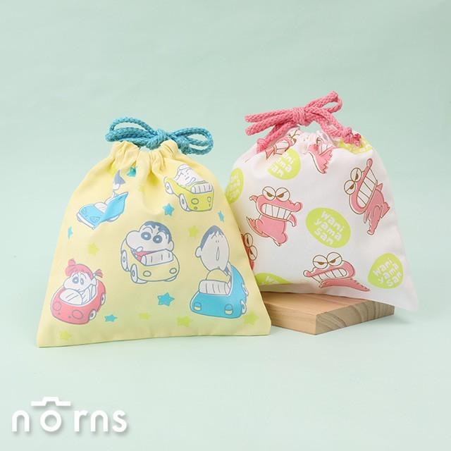 日貨蠟筆小新棉質束口袋v3- norns 日本進口 收納袋 收納包 碰碰車 鱷魚阿山