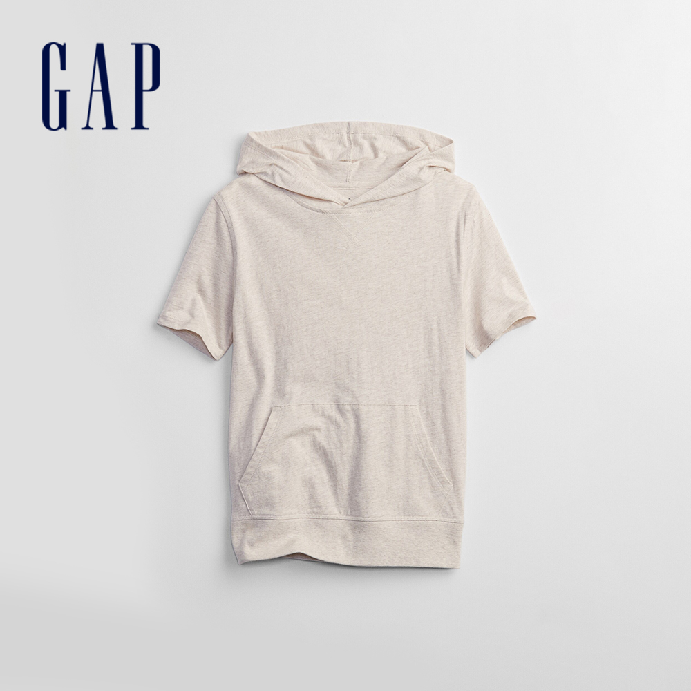 Gap 男童 活力運動連帽短袖T恤 720449-燕麥灰