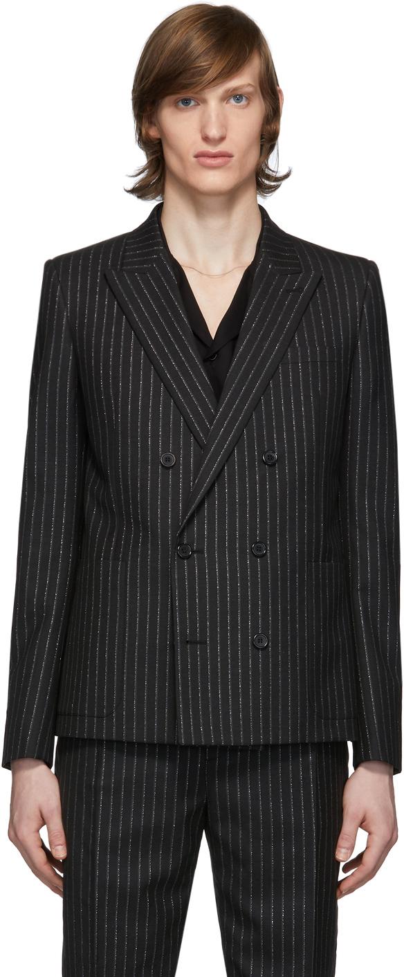 Saint Laurent 黑色 & 银色银丝条纹西装外套