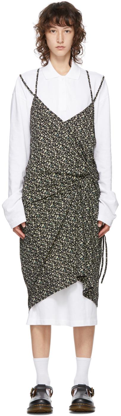 pushBUTTON SSENSE 独家发售白色 & 黑色 Polo 衫连衣裙
