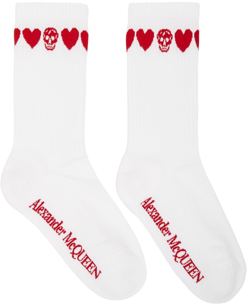 Alexander McQueen 白色 & 红色 Skull 中筒袜