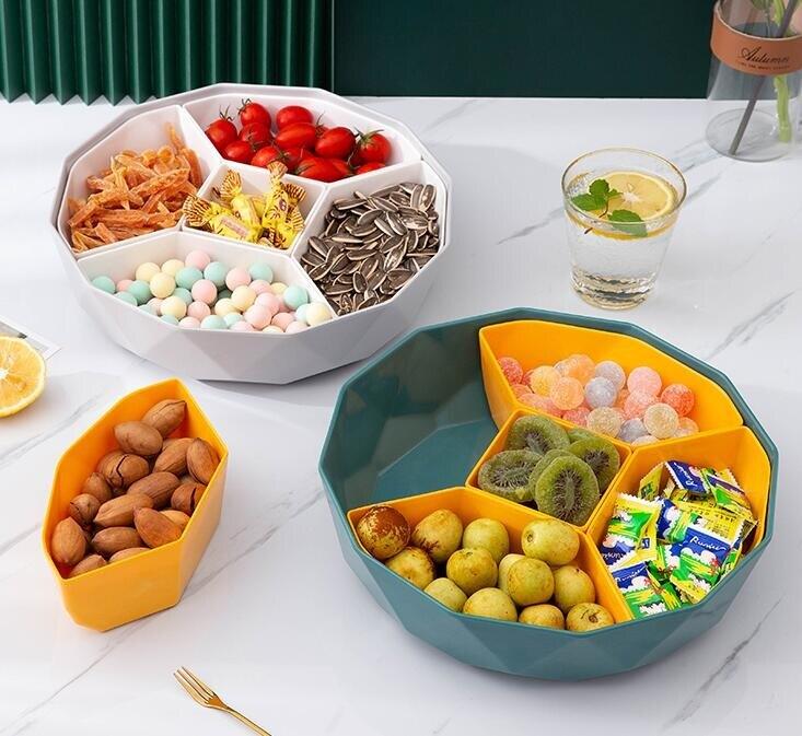 果盤 家用帶蓋果盤分格仿瓷干果盒糖果盒北歐干果盤堅果客廳零食收納盒