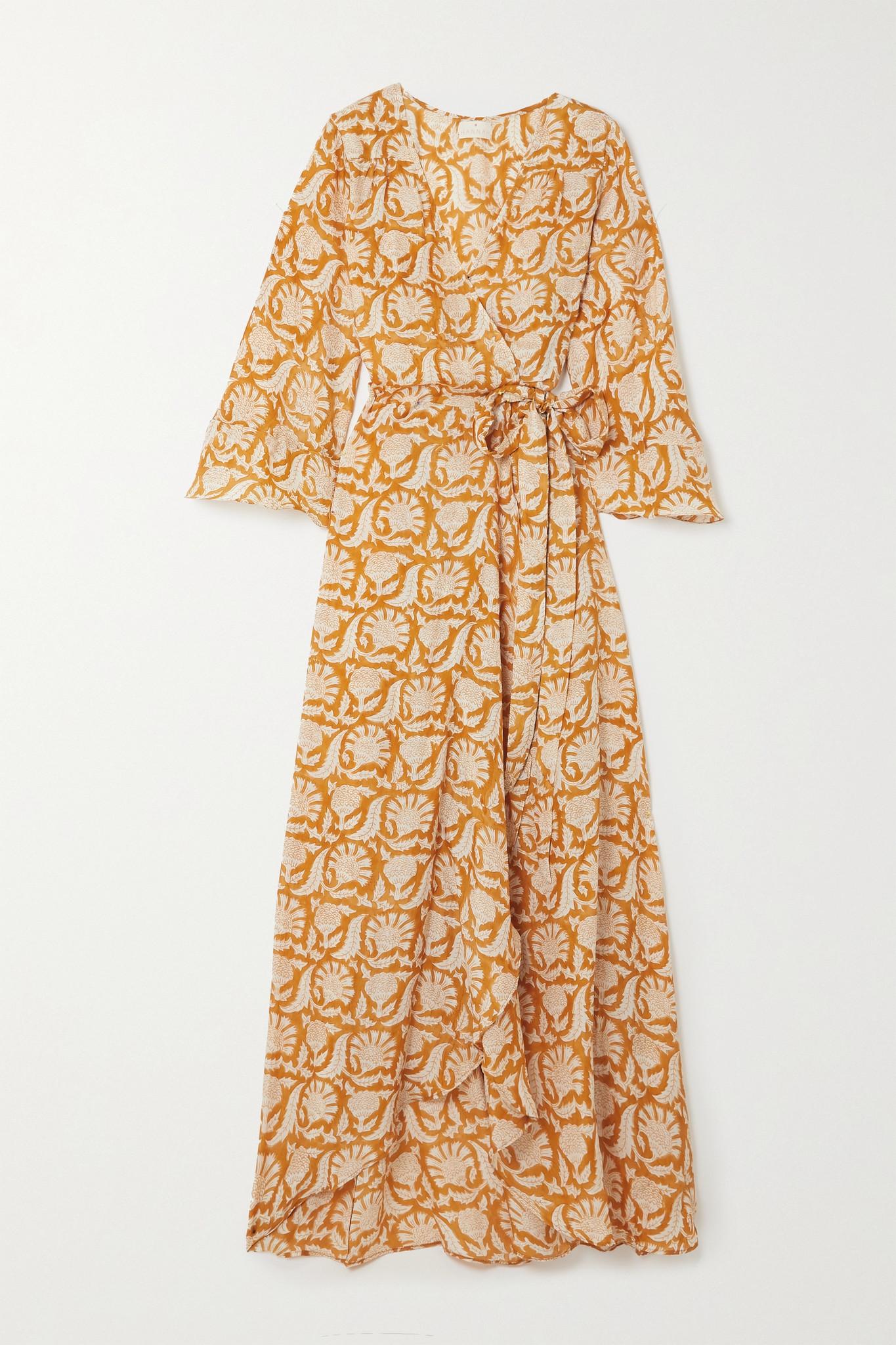 HANNAH ARTWEAR - 【net Sustain】luna 印花真丝超长裹身连衣裙 - 橙色 - One size
