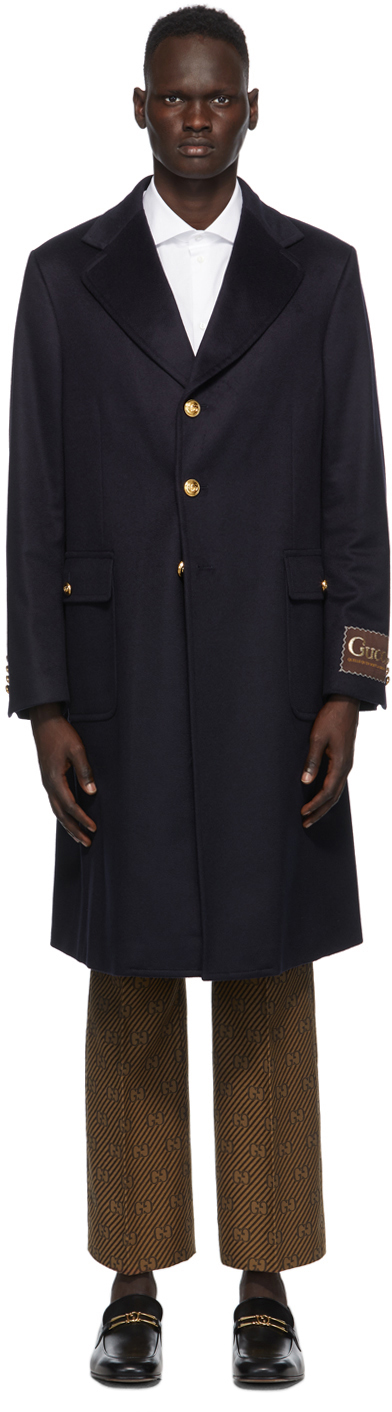 Gucci 海军蓝 Eco 羊绒大衣