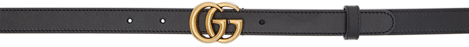 Gucci 黑色 GG Marmont 窄版腰带