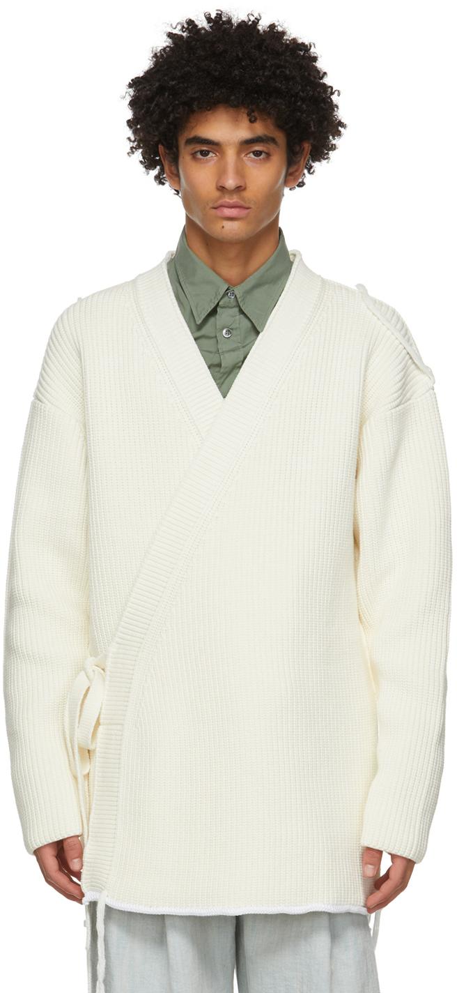 Dunhill 灰白色 Chunky 裹身开衫