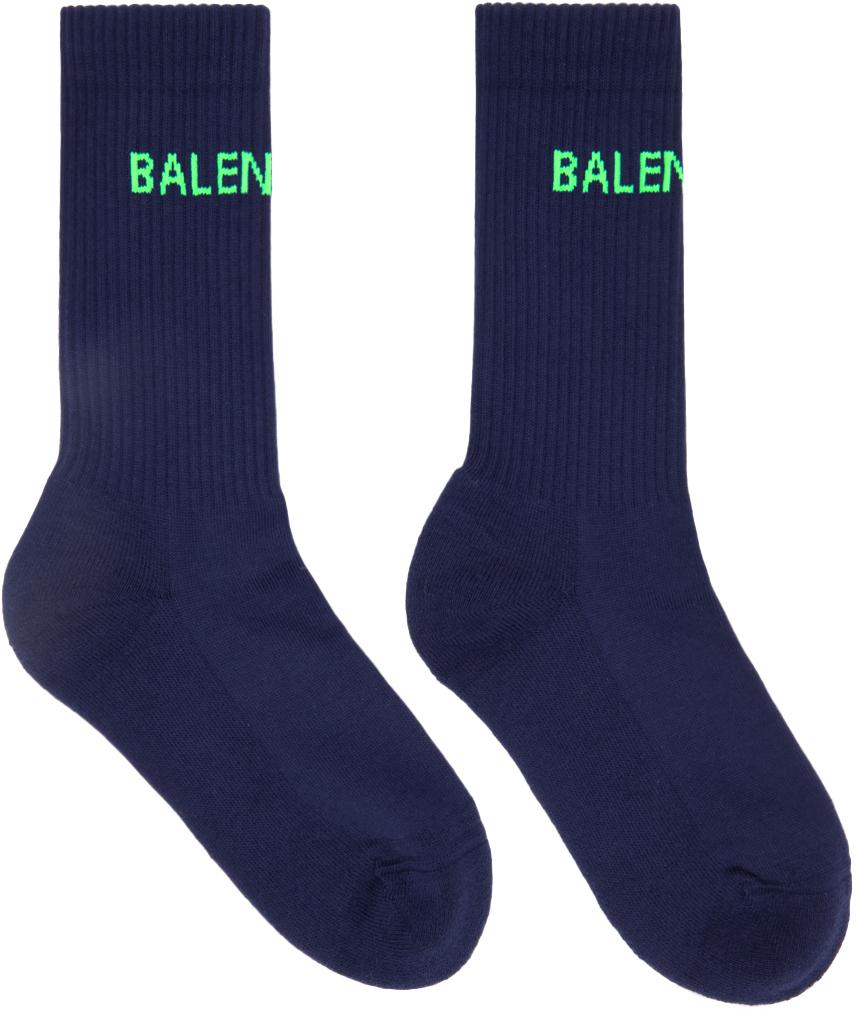 Balenciaga 海军蓝徽标中筒袜