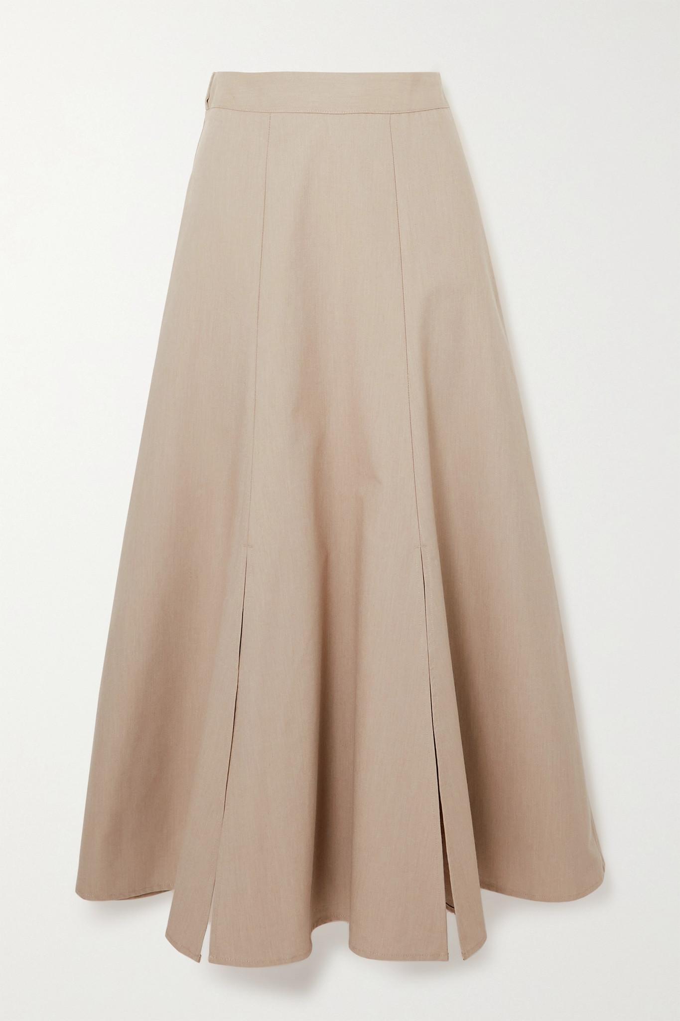 CAES - + Net Sustain Organic Cotton-poplin Midi Skirt - Neutrals - small