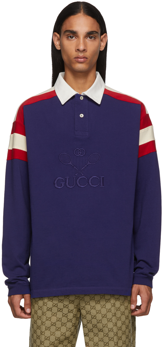 Gucci 蓝色 Tennis Club Polo 衫