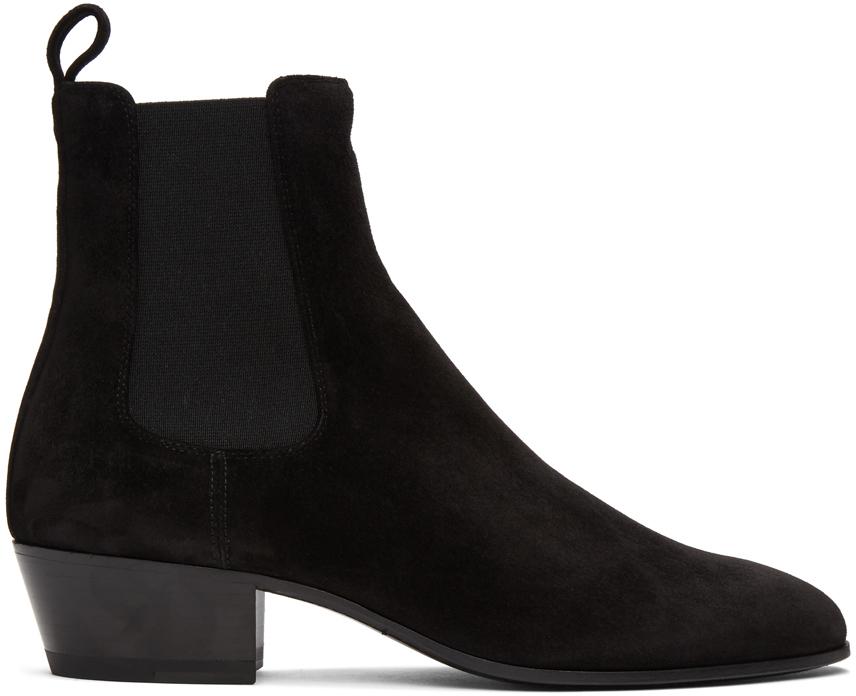Saint Laurent 黑色 Cole 绒面革切尔西靴