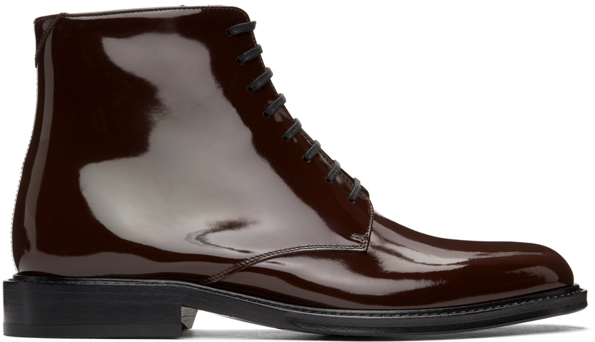 Saint Laurent 酒红色 Army 踝靴