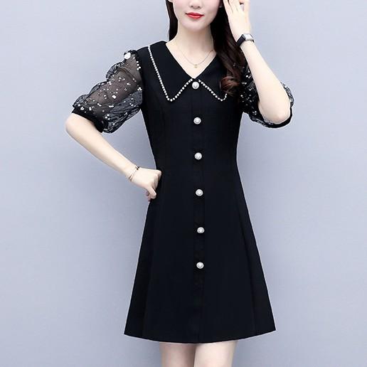 洋裝 小黑裙 職業裙 中大尺碼 L-5XL新款大碼大碼胖MM減齡遮肚子連身裙NC21-A-7338.胖胖美依
