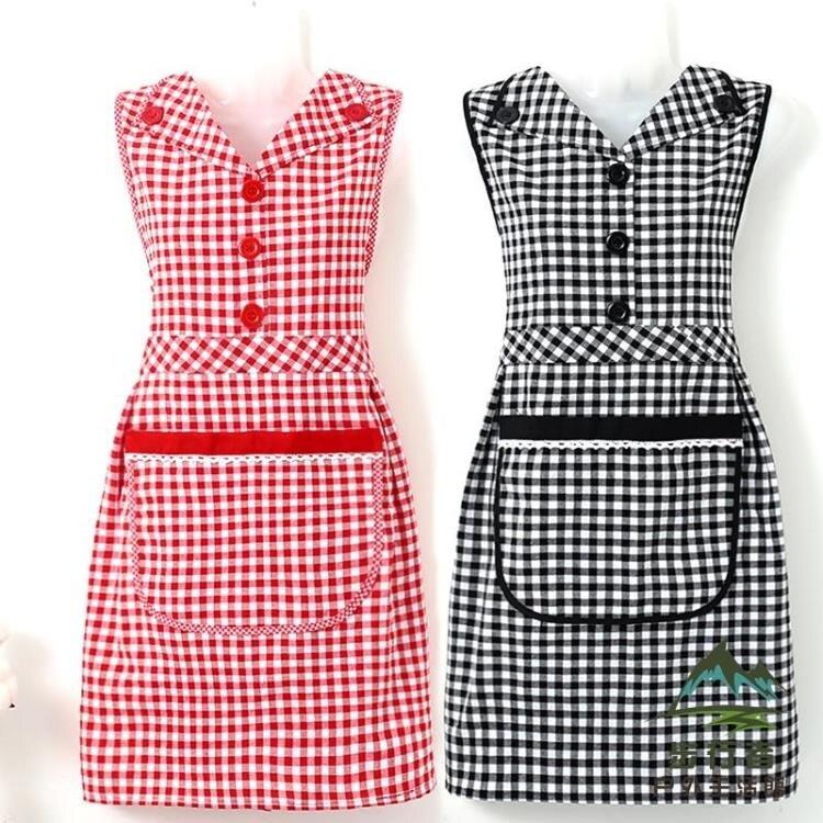 可愛日系翻領圍裙女家用裙子式廚房做飯純棉工作服