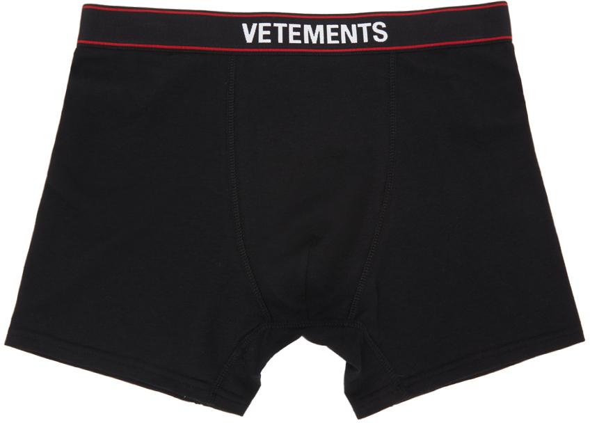 VETEMENTS 黑色徽标平角内裤