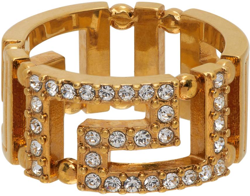 Versace 金色 Greca 水钻戒指