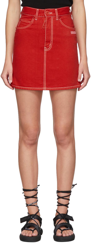 Off-White 红色牛仔短裙